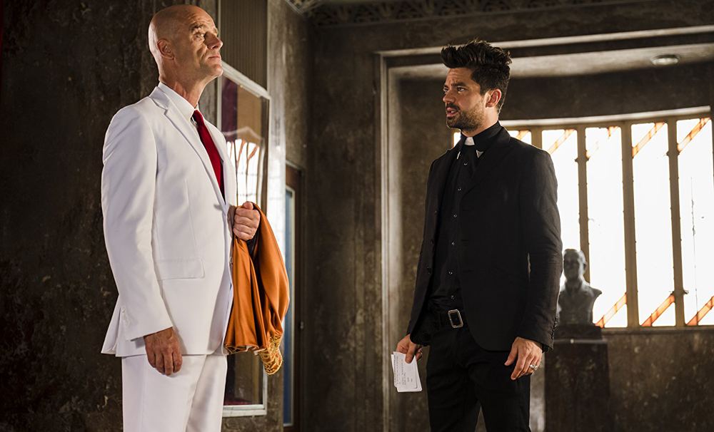 Pip Torrens and Dominic Cooper in Preacher